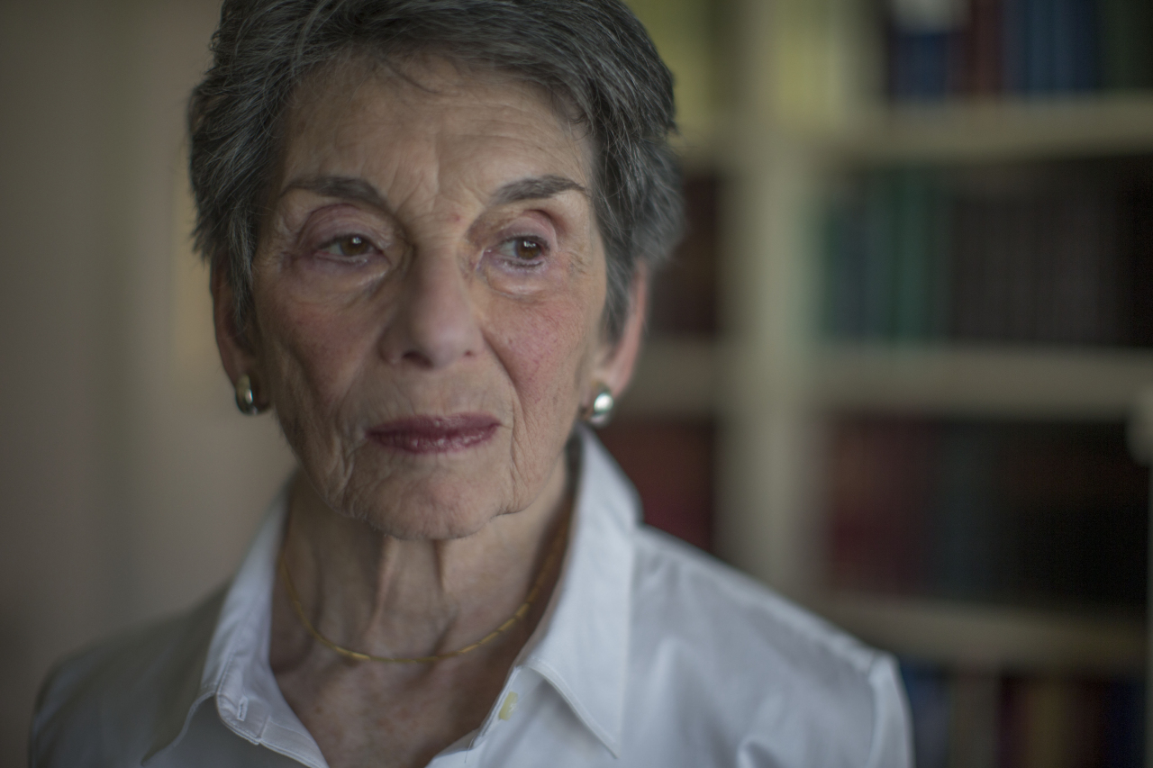 Renee Rabinowitz, a retired lawyer with a Ph.D. in educational psychology, at her home in Jerusalem, Feb. 25, 2016. Rabinowitz is about to become a test case in the battle over religion and gender in Israel's public spaces — and the skies above — as the plaintiff in a lawsuit accusing El Al, the national airline, of discrimination. (Uriel Sinai/The New York Times)